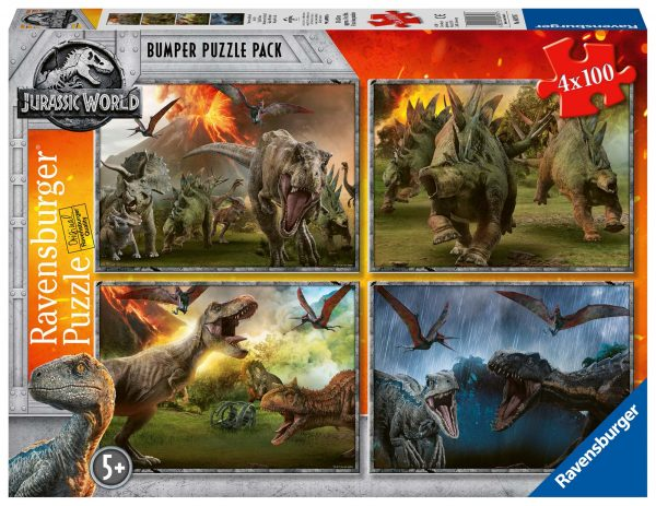Jurassic World  - Puzzle 4x100 pezzi Ravensburger RAVENSBURGER PUZZLE Unisex 12+ Anni, 8-12 Anni JURASSIC WORLD