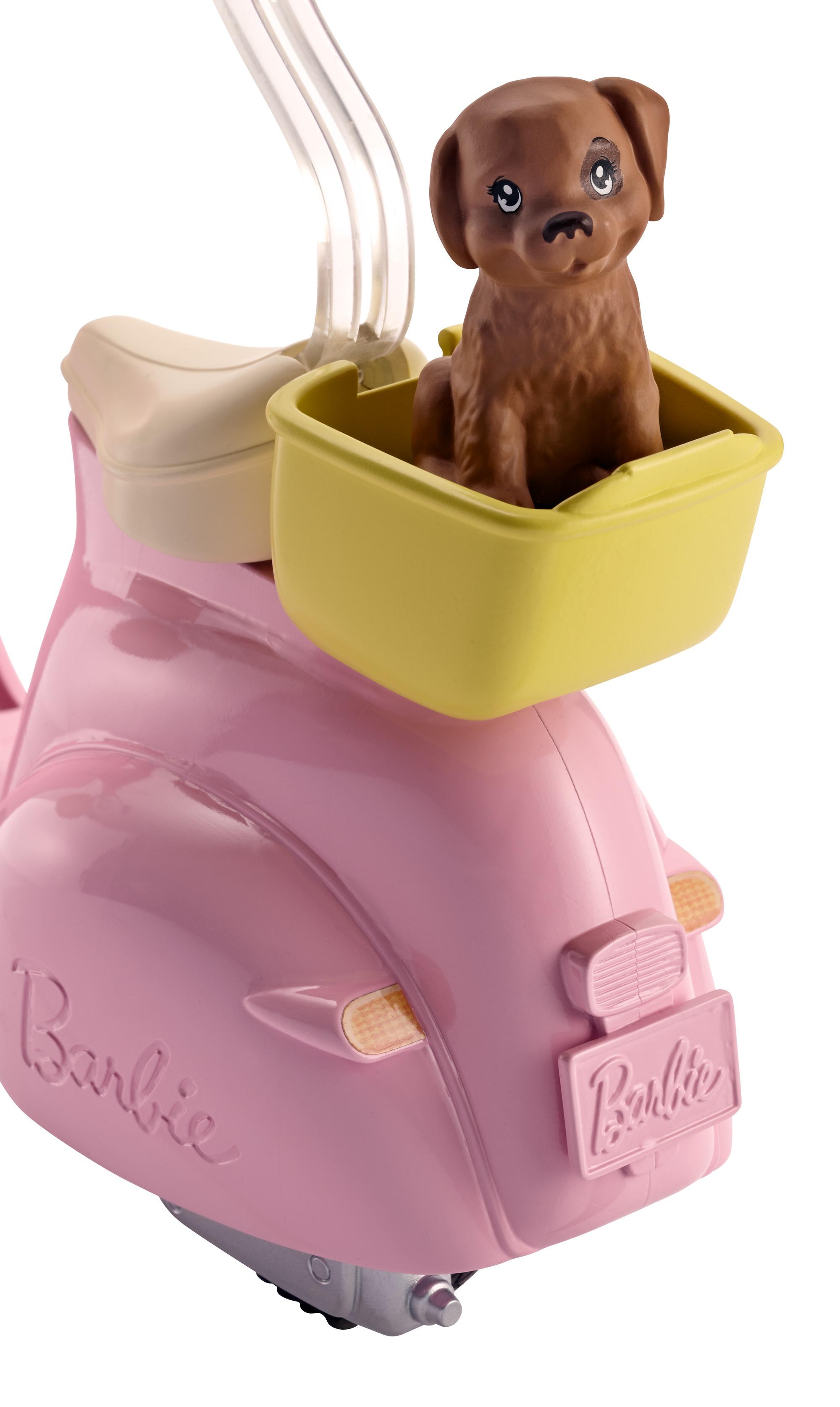 Barbie – scooter & cagnolino, con cucciolo e casco inclusi - Barbie