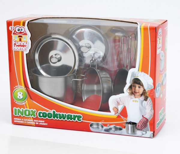 INOX COOKWARE - Toys Center - Toys Center TOYS CENTER Unisex 12-36 Mesi, 12+ Anni, 3-5 Anni, 5-8 Anni, 8-12 Anni FUNNY HOME
