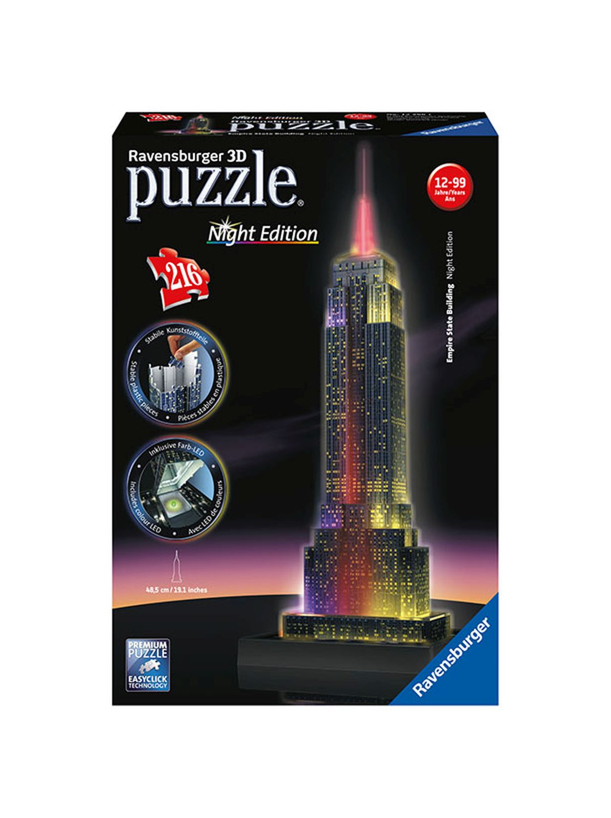Puzzle 3d empire state building night edition - giocattoli toys center - RAVENSBURGER PUZZLE 3D