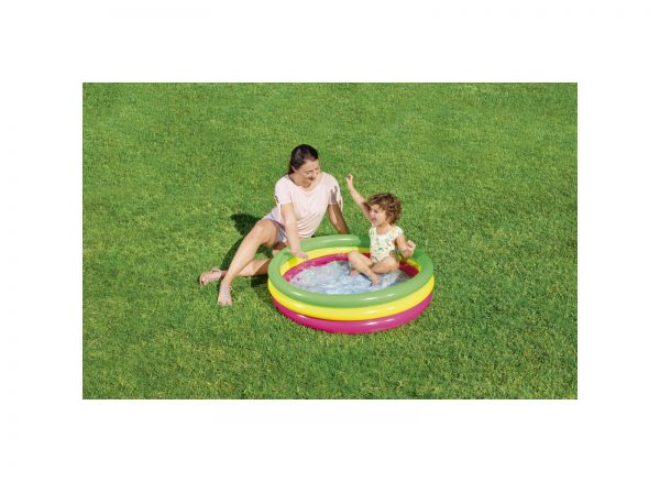 BESTWAY PISCINA SUMMER 3 ANELLI COLOR CON FONDO GONFIABILE 102X25 CM Unisex 3-4 Anni, 5-7 Anni ALTRI ALTRO