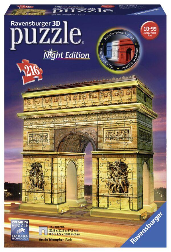 Arco di Trionfo - Puzzle 3D Building Night Edition Ravensburger 12522 - Ravensburger Puzzle 3d - Toys Center RAVENSBURGER PUZZLE 3D Unisex 12+ Anni, 8-12 Anni ALTRI