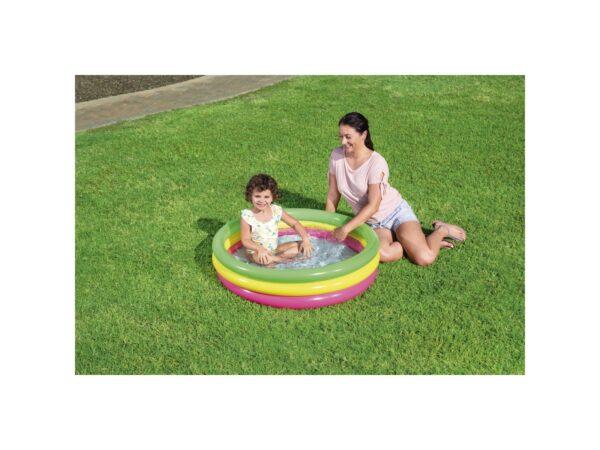 BESTWAY PISCINA SUMMER 3 ANELLI COLOR CON FONDO GONFIABILE 102X25 CM 3-4 Anni, 5-7 Anni Unisex ALTRO ALTRI