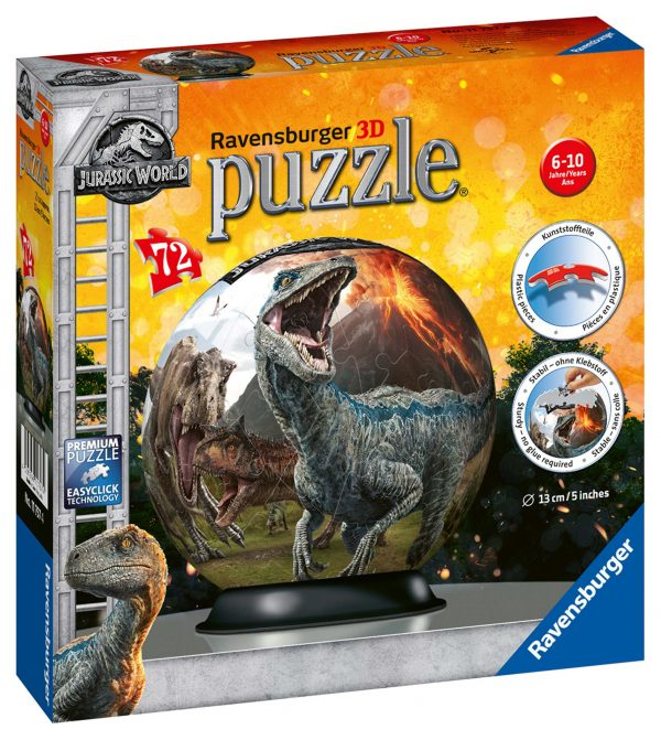 Jurassic World - 3D Puzzleball Ravensburger JURASSIC WORLD Unisex 12+ Anni, 8-12 Anni RAVENSBURGER PUZZLE 3D