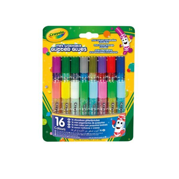 16 Mini Colle Glitter lavabili Crayola ALTRO Unisex 12-36 Mesi, 12+ Anni, 8-12 Anni ALTRI