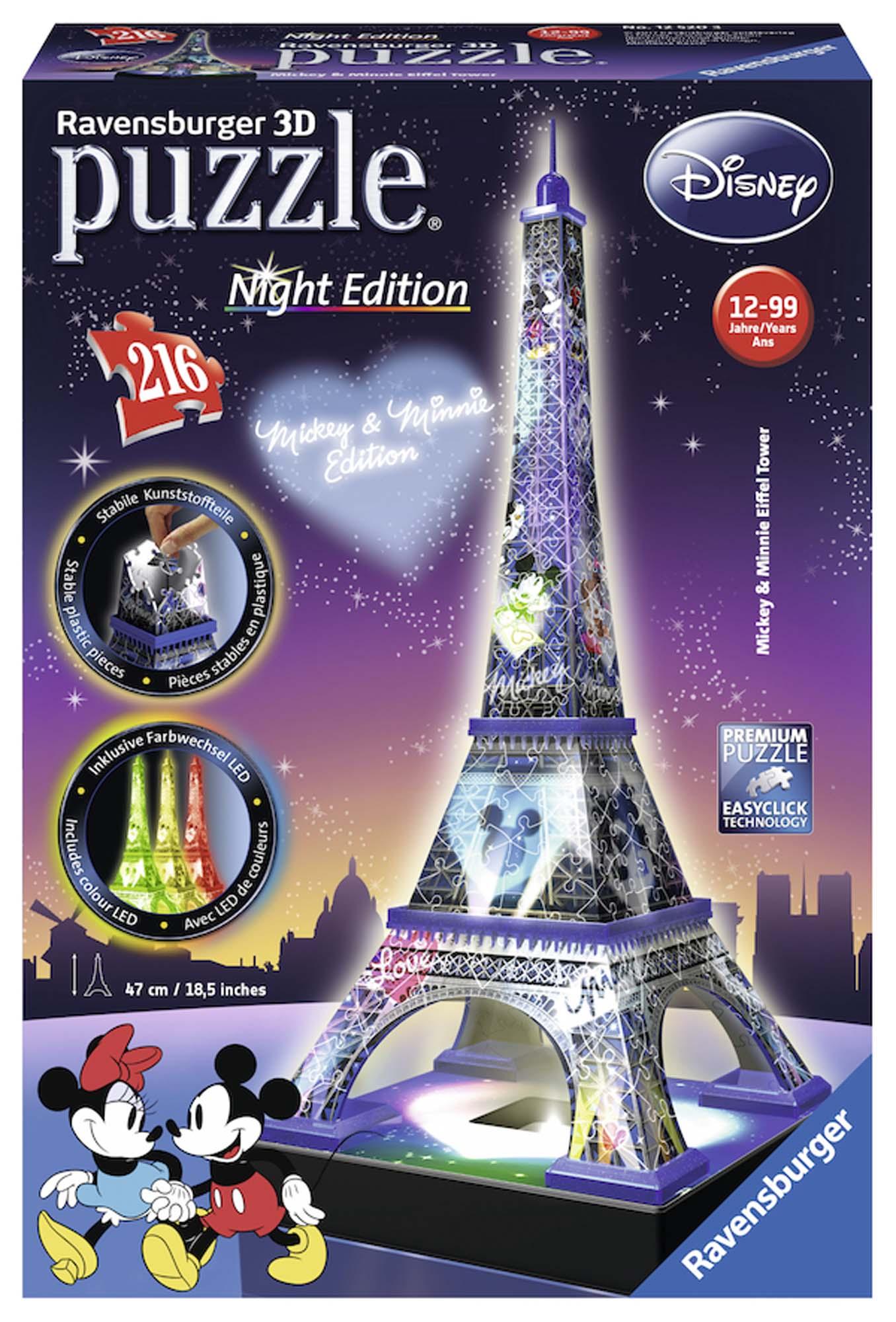 3d puzzle building night edition - tour eiffel mickey mouse - best seller disney - disney - marche - ALTRO