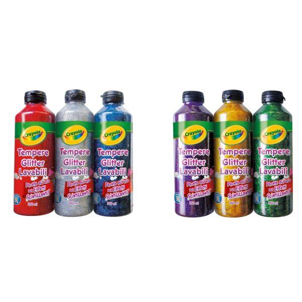 Tempere assortite glitter lavabili 3x250ml Crayola ALTRO Unisex 12-36 Mesi, 12+ Anni, 3-5 Anni, 5-8 Anni, 8-12 Anni ALTRI