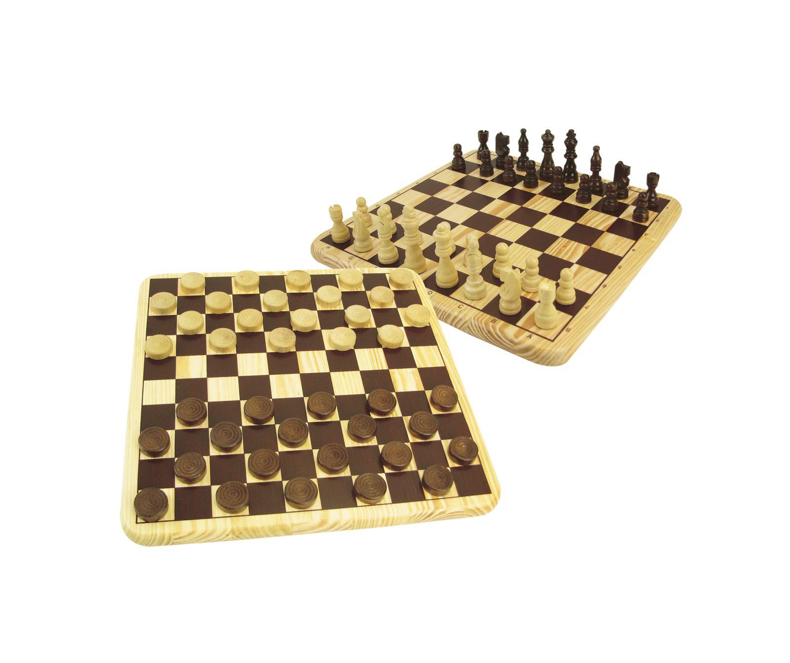 Dama e scacchi in legno - ZIG ZAG CLASSIC