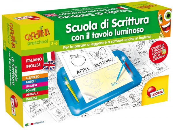 Carotina  scuola di scrittura bilingue con tav lum CAROTINA Unisex 12-36 Mesi, 3-4 Anni, 3-5 Anni, 5-7 Anni, 5-8 Anni ALTRI