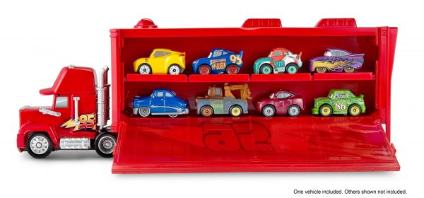 CARS DISNEY - PIXAR Maschio 12+ Anni, 8-12 Anni Cars 3 - Mack Trasportatore Mini Racers, con un Mini Racer incluso, può contenere fino a 16 Mini Racers - FLG70 - Disney - Pixar - Toys Center