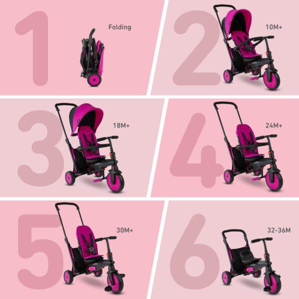 SMART TRIKE STR3 FOLDING 6 IN 1 ROSA - SMART TRIKE - Marche ALTRI Femmina 0-12 Mesi, 12-36 Mesi, 3-5 Anni SMART TRIKE