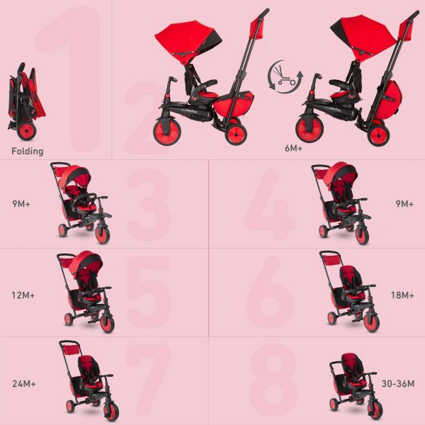 SMART TRIKE STR7 FOLDING 8 IN 1 ROSSO - SMART TRIKE - Marche ALTRI Unisex 0-12 Mesi, 12-36 Mesi, 3-5 Anni SMART TRIKE