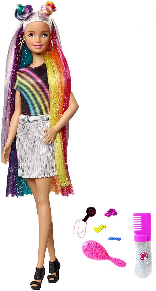 Barbie Bambola con Capelli Lunghi Arcobaleno e Tanti Accessori - Fashion dolls
