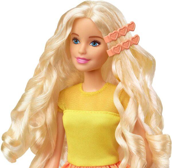 Barbie- Ricci Perfetti, Bambola Bionda con Capelli Lunghi da Pettinare con Pettine, Bigodini e Accessori