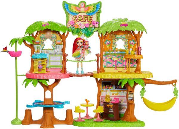 Enchantimals- Caffetteria Dolci Momenti Playset 60 cm con Bambola Peeki Il Pappagallo e 20 Accessori
