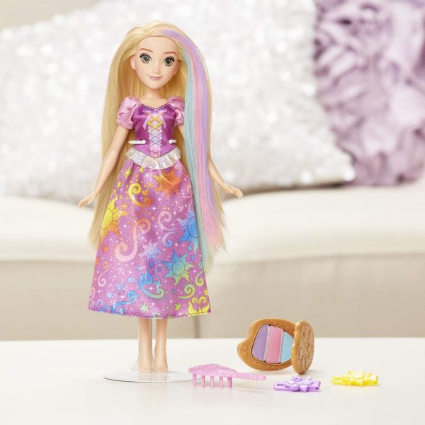 Disney Princess - Rainbow Rapunzel, con capelli per giocare stile arcobaleno