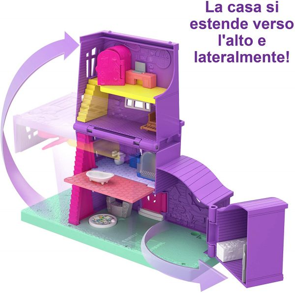 Polly Pocket- Casa di Polly, Playset Richiudibile con Bambola e Accessori