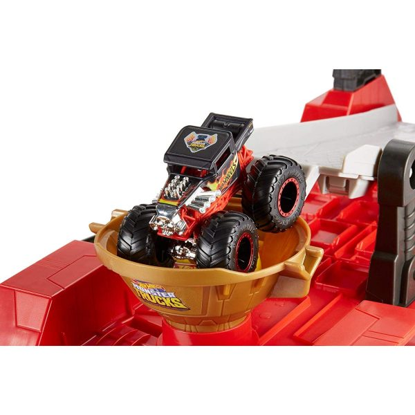 Hot Wheels- Monster Truck Pista Downhill Race & Go, Playset con Due Veicoli e Accessori