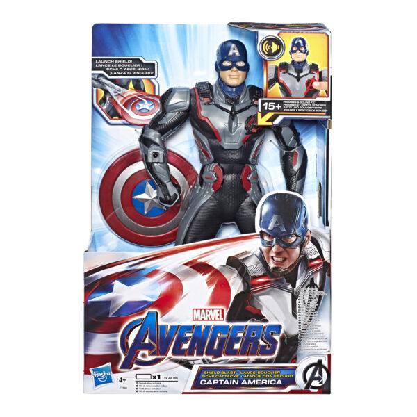 Marvel Avengers: Endgame - Captain America lancia scudo (Action Figure interattiva elettronica con suoni e frasi in inglese, 33 cm) - Action figures