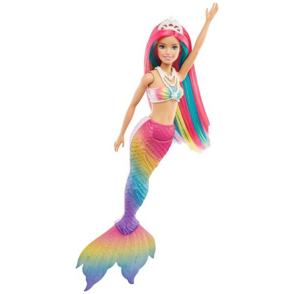 Barbie - Bambola Sirena Cambia Colore con Capelli Arcobaleno, Tiara e Collana, 3+Anni - GTF89