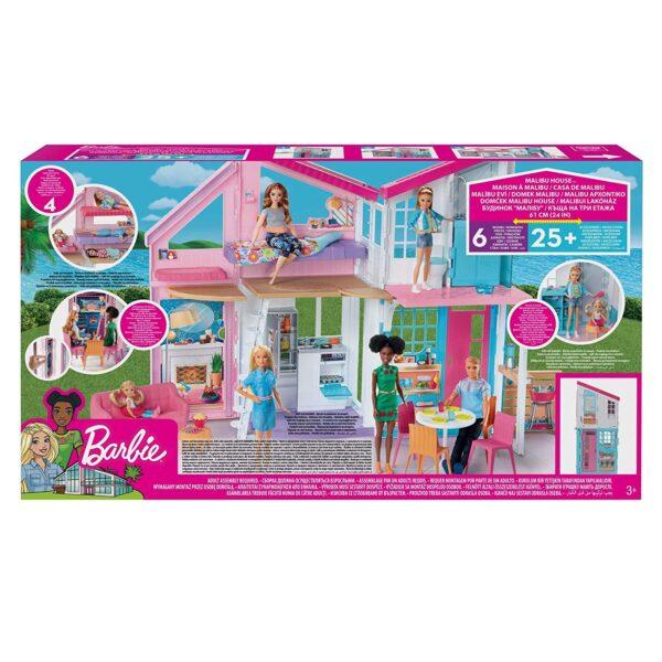 Barbie- Casa di Malibu, Playset Richiudibile su Due Piani con Accessori - Fashion dolls