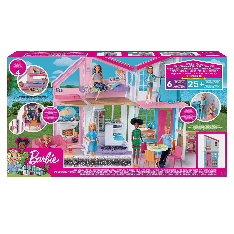 Barbie- Casa di Malibu, Playset Richiudibile su Due Piani con