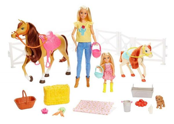 Barbie Ranch di Barbie e Chelsea, Playset Giocattolo con Due Bambole, Cavalli e Accessori
