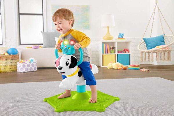 Fisher-Price- Cagnolino Saltella e Gira, Insegna Numeri, Colori e Tanto Altro, Giocattolo Educativo per Bambini 12 + Mesi