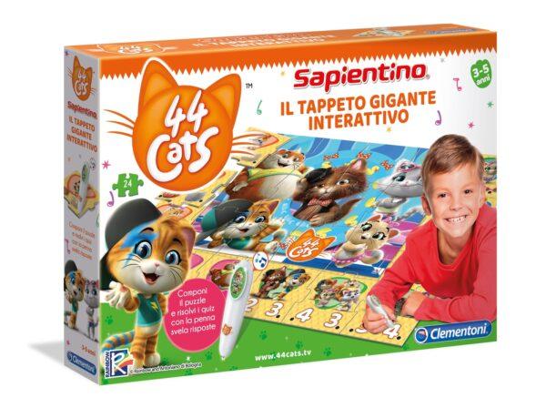 Clementoni- Sapientino Gigante Interattivo-44 Gatti, Tappeto Puzzle, Multicolore, 16192