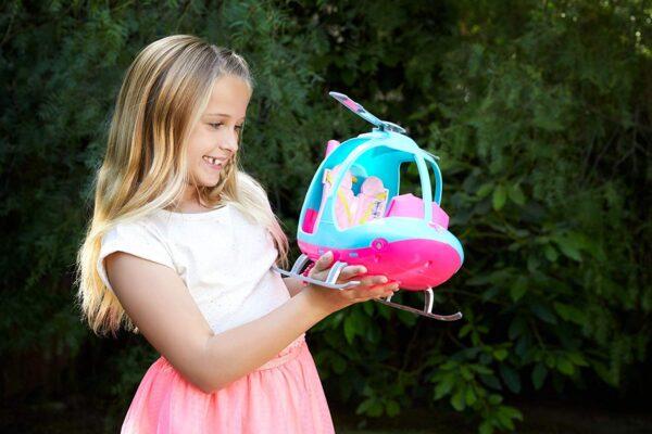 Barbie l'Elicottero per Bambole, Rosa e Azzurro con Elica Che Gira