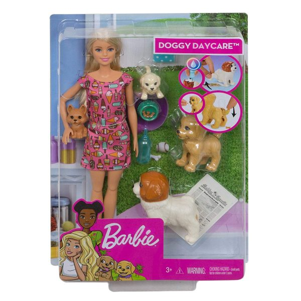 Barbie Doggy Daycare Playset Dogsitter con Bambola e Cuccioli