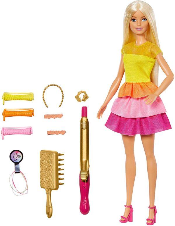 Barbie- Ricci Perfetti, Bambola Bionda con Capelli Lunghi da Pettinare con Pettine, Bigodini e Accessori - Fashion dolls