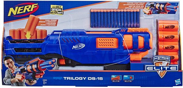 Nerf Elite Trilogy DS-15 Blaster con 15 Dardi Originali e 5 Cartucce