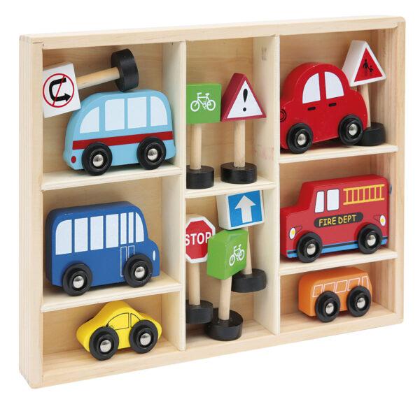 SET AUTO E ACCESSORI IN LEGNO - WOOD 'N' PLAY - Altri giochi per l'infanzia