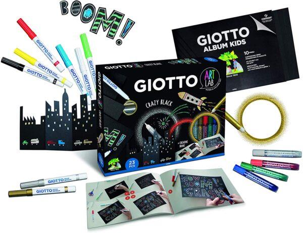 Giotto- Art Lab Crazy Black Kit Creativo, Colori Assortiti