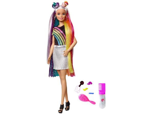Barbie Bambola con Capelli Lunghi Arcobaleno e Tanti Accessori