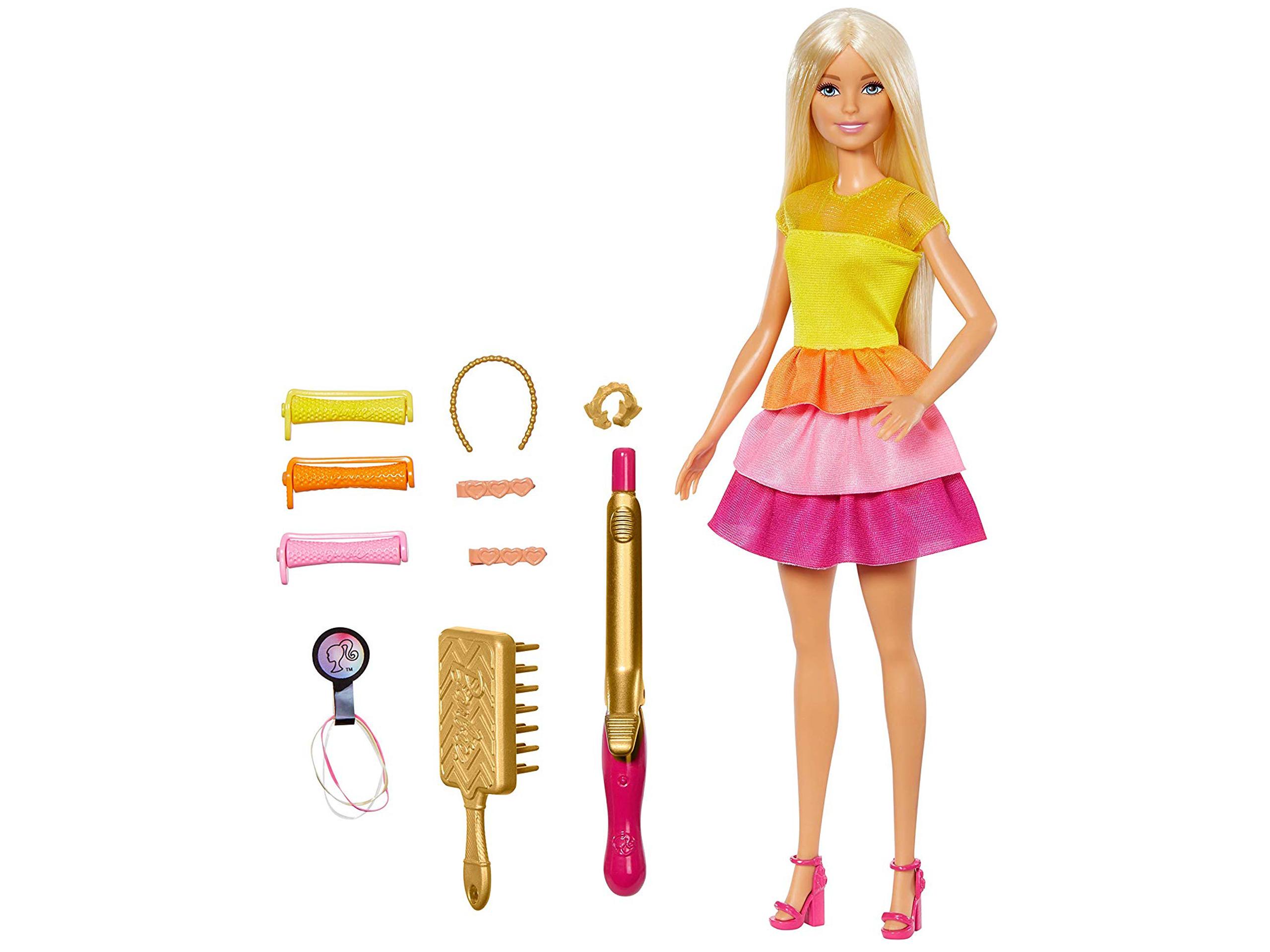 Barbie- Ricci Perfetti, Bambola Bionda con Capelli Lunghi da