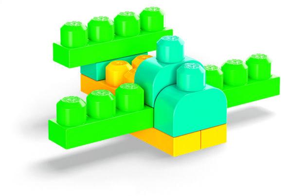MEGA BLOKS  Mega Bloks Pacco Eco con 100 Blocchi da Costruzione, Stimola la creatività, 1+ Anni