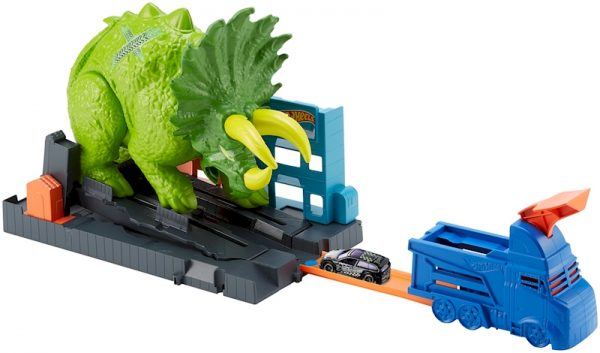 Hot Wheels City Playset Pista Attacco del Triceratopo con Lanciatore e Macchinina, GBF97