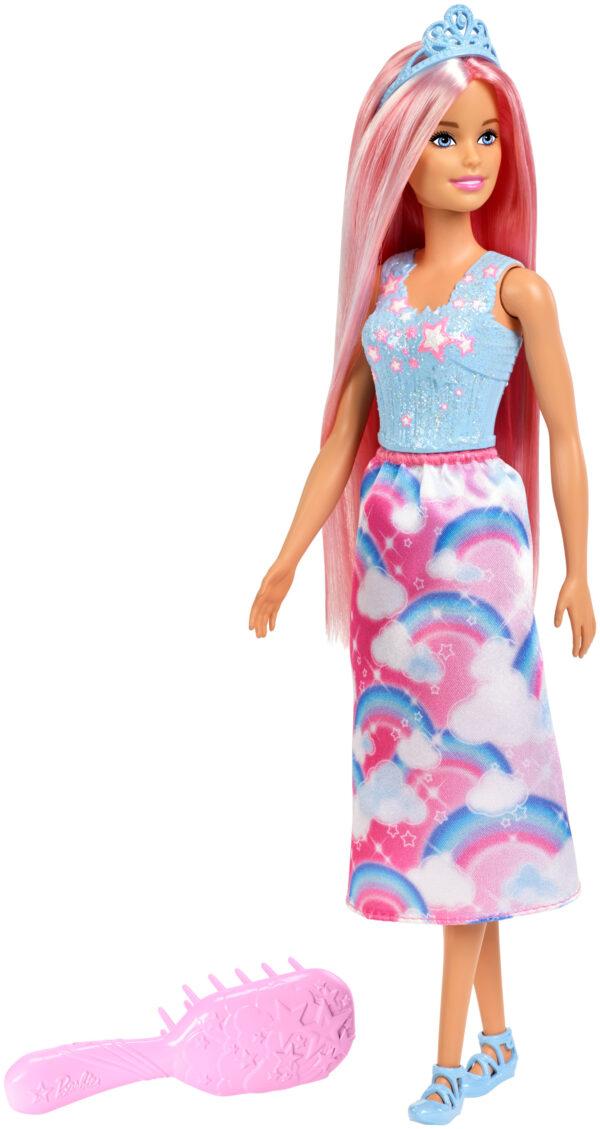 Mattel Barbie Bambola Principessa Arcobaleno con Capelli Rosa Lunghi e Spazzola, FXR94
