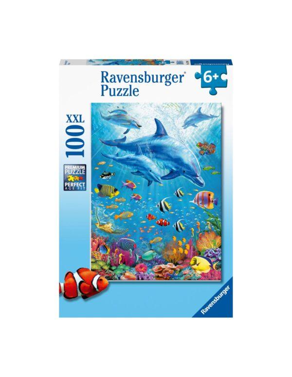 Ravensburger Puzzle 100 Pezzi XXL - Incontro di Delfini