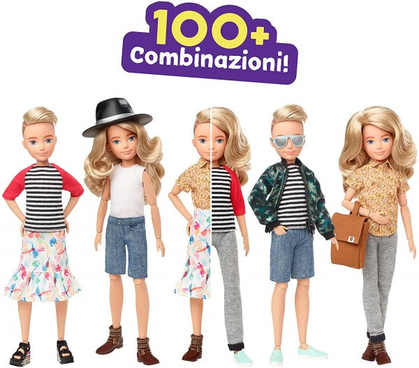 Creatable World, Bambola Personalizzabile con Capelli Biondi Mossi e Accessori    Createable World