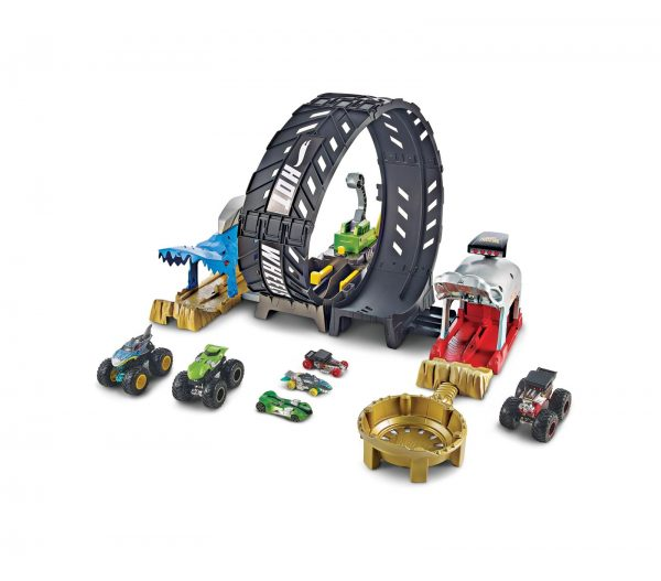 Hot Wheels- Sfida nel Loop, Pista con Monster Truck e Macchinina Hot Wheels