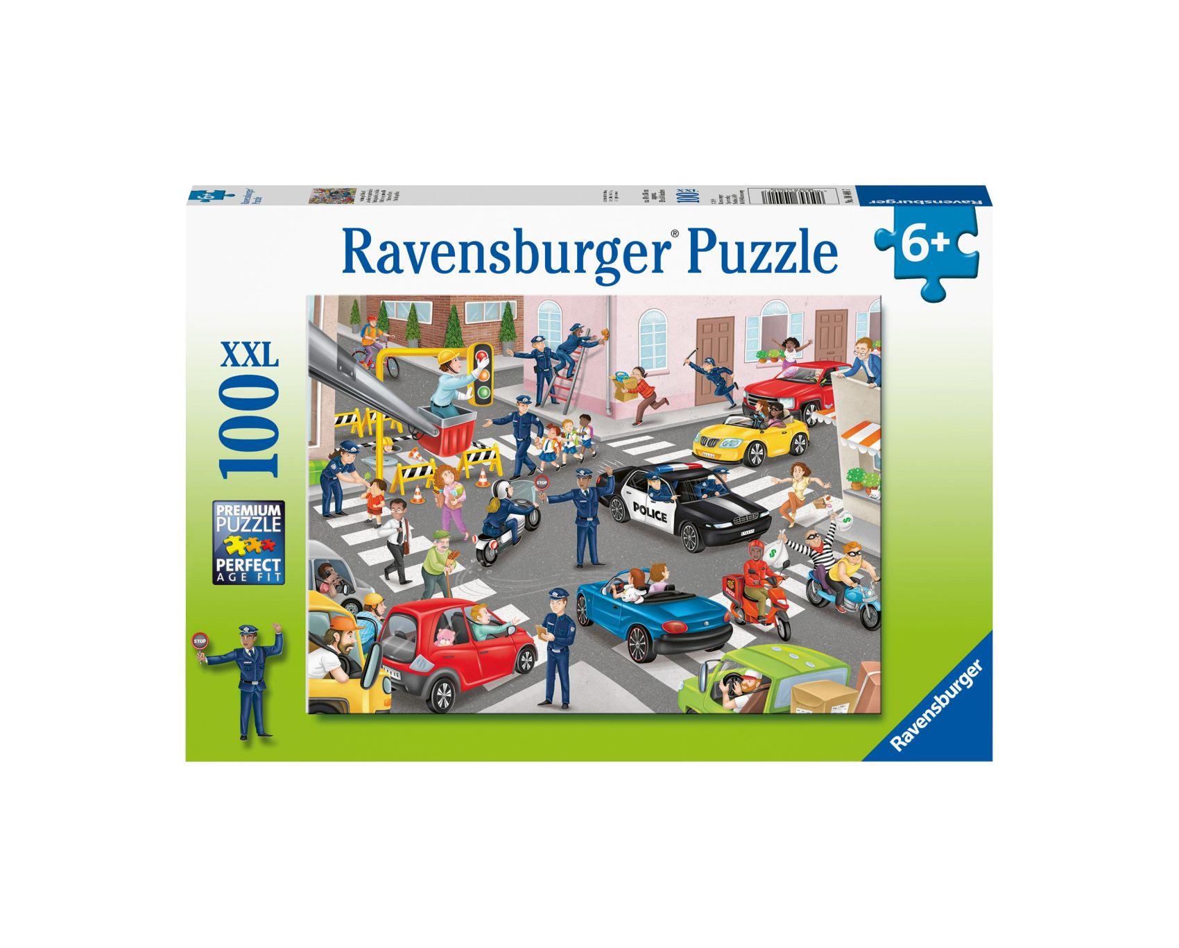 Ravensburger puzzle 100 pezzi xxl - pattuglia della polizia -