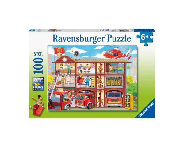 Ravensburger Puzzle 100 Pezzi XXL - Caserma dei pompieri