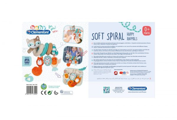 Baby Clementoni For You - Soft Spiral Happy Animals - Gioco per passeggino