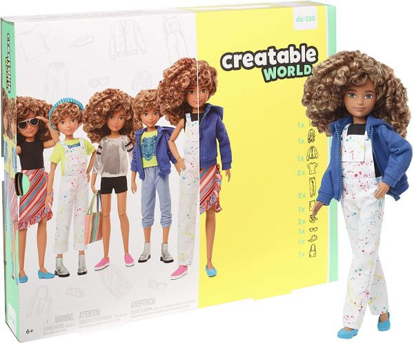 Creatable World, Bambola Personalizzabile con Capelli Ricci Biondi e Accessori Createable World