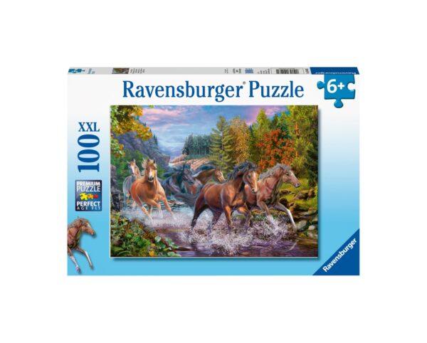Ravensburger Puzzle 100 Pezzi XXL - Cavalli sul fiume