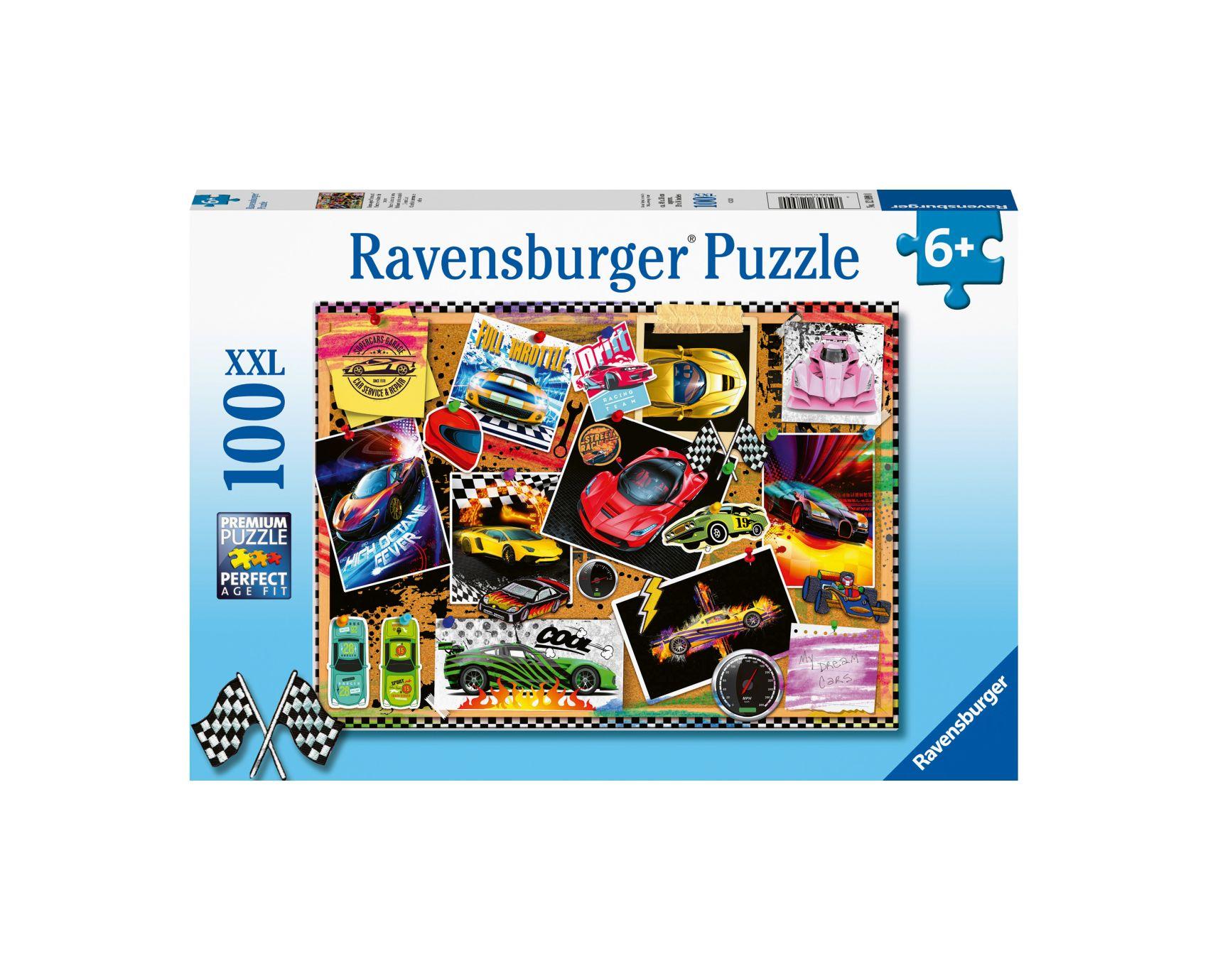 Ravensburger puzzle 100 pezzi xxl - poster di auto da corsa -