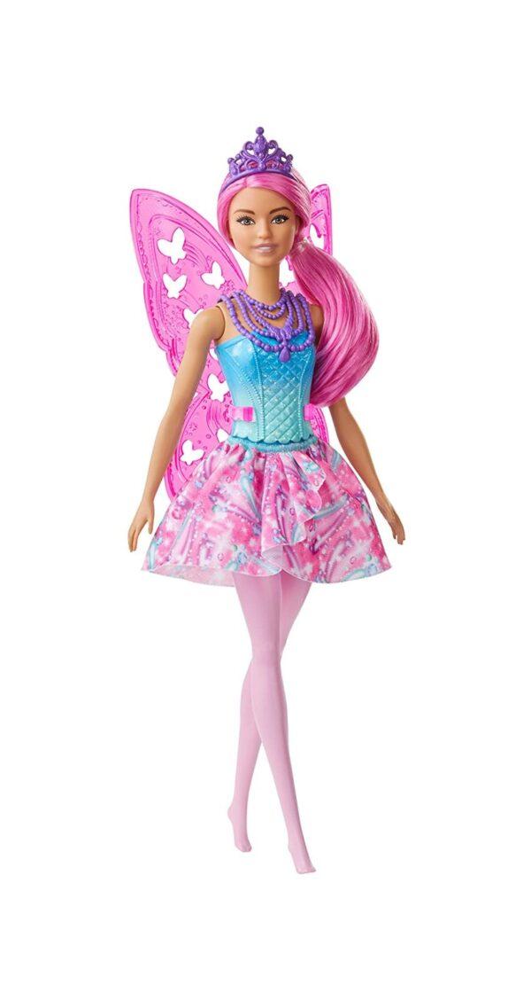 Barbie  Barbie Dreamtopia, Bambola Fatina con Capelli e Ali Rosa, 3+ Anni